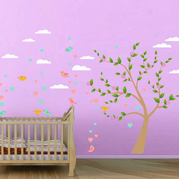 Birds wall decals for Nursery clouds wall decal for kids room Tree wall Decals for Nursery kids wall decal kcik1757