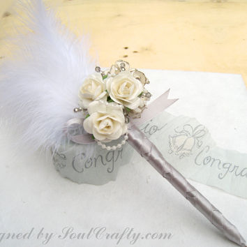 Cottage Chic Wedding - Gatsby Wedding - Cream Blue Pink Red Mulberry Paper Roses Wedding Guestbook Pen