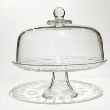 "Clear Glass Dome Cake Stand, Pedestal Cake Stand with Lid, Glass Dome Lid Cake Stand, Vintage Glass Cake Stand Pedestal 12"" With Glass Cover"