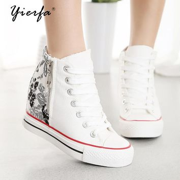 Women canvas shoes increased 8 cm casual shoes low shoes high heels shoes