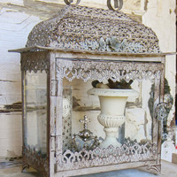 French Country, French Country Display,Display Case,Vintage Inspired Display Case,Small Curio Case,Metal Lantern,Apothecary Case,Glass Case
