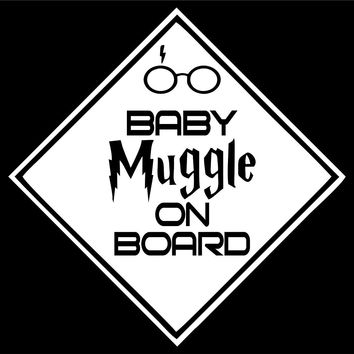 Baby Muggle On Board 2 Car Window Ipad Tableet PC Notebook Cumputer Decal Sticker