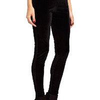 ROMWE Elastic Low-rise Sheer Black Velvet Leggings