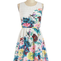 ModCloth Bird Mid-length Sleeveless A-line Exotic Elegance Dress