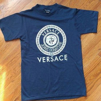 CREYDC0 MENS VINTAGE VERSACE T-SHIRT WHITE/ BLUE MEDUSA HEAD SIZE L AUTHENTIC