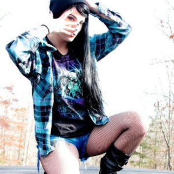 Mystery Vintage Band Tee Shirt & Flannel Hipster Shirt Outfit- Pick Your Size