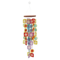 Benzara Eye-catching Capize Square Rainbow Wind Chime