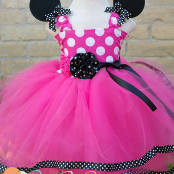 Minnie Mouse Tutu Dress In Black and white dot trim