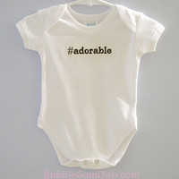 Baby Outfit Hashtag Adorable Onesuit Baby Geekery Embroidered Infant Bodysuit