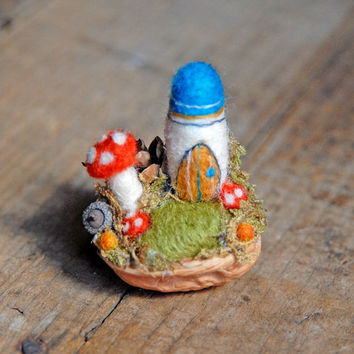 Tiny Fairy Castle, Needle Felted, Walnut Shell, Turquoise