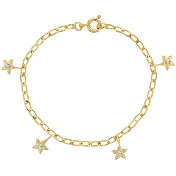 18k Gold Plated Cute Clear Crystal Flower Charm Bracelet for Girls 6""