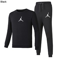 AIR JORDAN 2018 new men and women models wild sports casual sweater + guard pants two-piece black