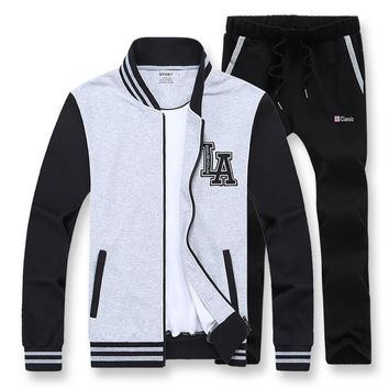 AmberHeard 2017 New Spring Autumn Sporting Suit Men Set Baseball Jacket+Pant Sweatsuit Two Piece Set Tracksuit For Men Clothing