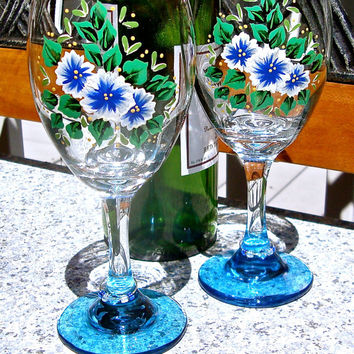 Hand Painted Wine Glasses With Blue and White Flowers and Free Wine Charms, September Birthday Gift