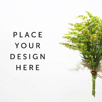 Styled Stock Photography - Hero Image - Product Display - Goldenrod Bouquet on a Clean White Desktop Background