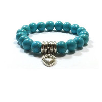 Turquoise Bracelet , Sterling Silver Heart Charm    ,  Turquoise  Beaded  Stretch Bracelet , Stacking Bracelet