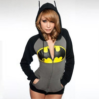 Black and Grey Batman Logo Zip Hoodie