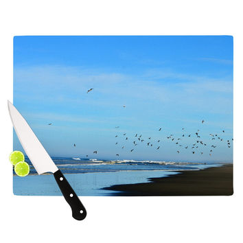 "Robin Dickinson ""Beach Hair"" Blue Coastal Cutting Board"