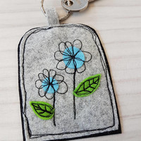New home-floral-flower keyring house applique... flower applique tag key charm your moving- home sweet home- new adventure-key to the door