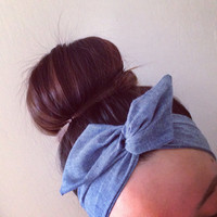 Denim Dolly Bow Headband, Wire Option Available