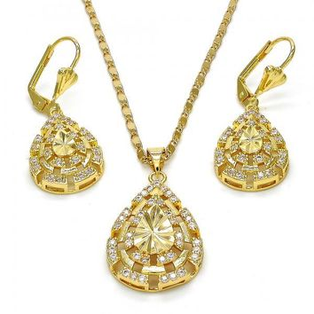 Gold Layered 10.233.0002 Necklace and Earring, Teardrop Design, with White Cubic Zirconia, Diamond Cutting Finish, Gold Tone