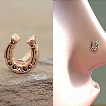 Horseshoe Rose Gold Nose Ring