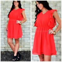 SZ MEDIUM Verona Red Ruffle Dress