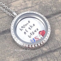 USA Necklace, Home of the Brave, USA Locket, Floating Locket, Hand Stamped Locket, Patriotic Necklace, 4th of July Necklace, United States