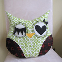 Owl Pillow Plush Green Black Ready to ship by RainRainRain