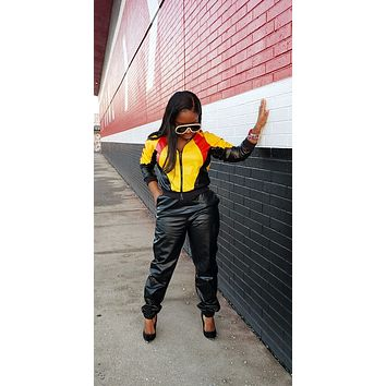 RESTRICTED Faux Leather Jogger Set