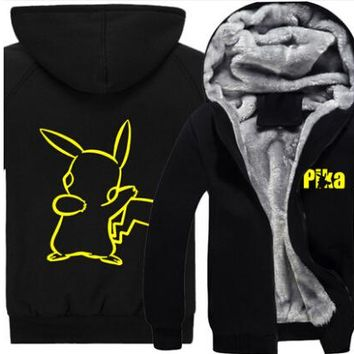 New winter Pokemon Go Pikachu Hoodie Anime Pocket Monster Gengar Luminous hoodied Coat Men Women cotton Sweatshirt