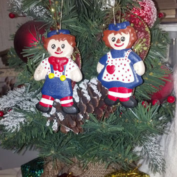 Vintage Ceramic Ornament, Raggedy Ann and Andy Christmas Ornament, Handmade Ornaments