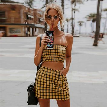 Sexy Yellow Plaid summer skirts womens High Waist Zipper Fly pencil skirt Harajuku Party Beach Mini Skirt