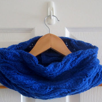 Royal Blue Cowl - Knitted Cowl - Knit Tube Scarf - Lace Knit Cowl - Knit Snood - Acrylic Cowl - Soft Cowl - Neckwarmer - Knit Neck Warmer