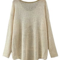 Beige Sequined Sweater