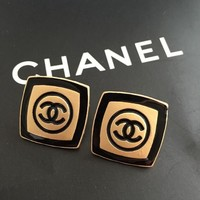 Chanel Trending Ladies Cool Square Baroque Stylish Earrings Stud Earrings