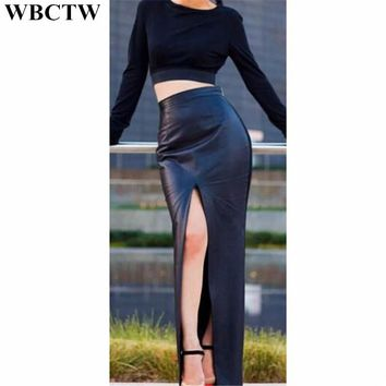 WBCTW Long Skirts Solid High Waist Open Slide Sexy Pencil Skirt 7XL Plus Size PU Faux Leather Summer Womens Skirts Office Skirt