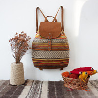 Ladies boho unique backpack, handmade of brown suede leather and colorful hand woven textile