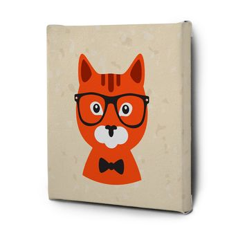 Hipster Animals Pictures Canvas Wall Art Painting Prints Orange Cat
