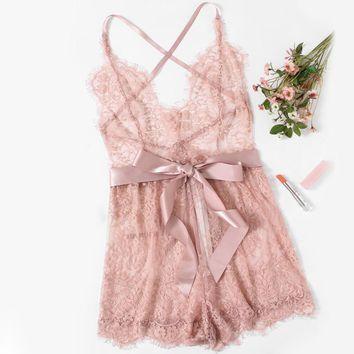 Pink Love Lace Sleep Romper
