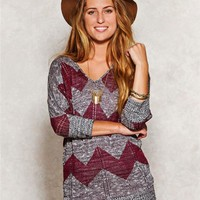 Chevron Dolman Sleeve Sweater