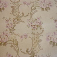 Vintage Wallpaper peonies lilac bouquets, bronze dots / Soviet vintage 70s, By the Yard
