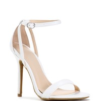 Sale-white Staple Ankle Strap Heels