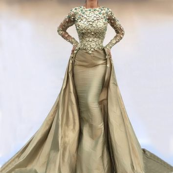 Detachable Muslim Evening Dresses Mermaid Long Sleeves Pearls Lace Islamic Dubai Saudi Arabic Long Formal Evening Gown