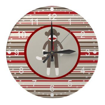 Like a Boss Sock Monkey with Tie on Red Stripes Wall Clock from Zazzle.com