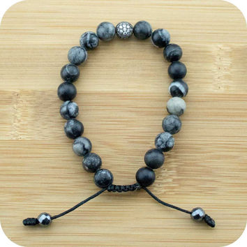 Black Silkstone Yoga Beads Bracelet with Crystal Pave