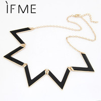 Vintage Elegant European Fashion Waves Geometry Black Choker Necklace Alloy Chain Necklaces Statement Jewelry For Women