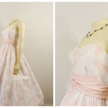 Vintage Dress 50s Style Pink & White Tea Length English Tea Party Dress size extra extra small - extra small xxs= xs