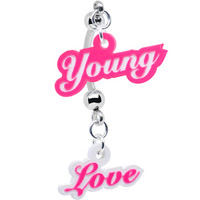 Pink and White Acrylic Young Love Double Mount Belly Ring | Body Candy Body Jewelry