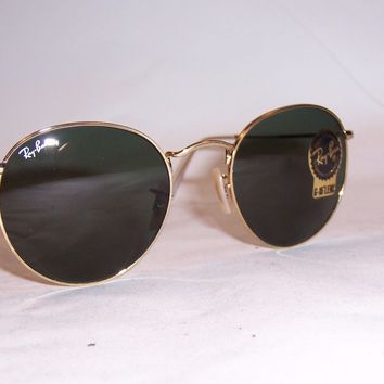 New RAY BAN ROUND METAL Sunglasses 3447 001 GOLD/GREEN 53mm AUTHENTIC